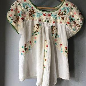 UO Hazel Embroidered Babydoll Top